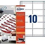 Avery L4727-20 - Tarjetas de identificación (54 x 90 mm, 20 x A4, 200 x tarjetas), blanco y rojo