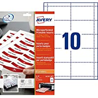 Avery 200 Inserts Badges Microperforés - 54x90mm - Impression Laser, Jet d'Encre - Blanc (L4727)