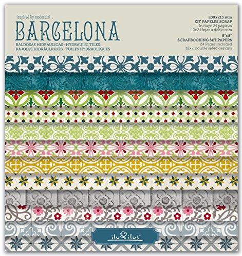 SCRAPBOOKING KIT Papiere, PAD BARCELONA, HIDRAULIC TILES 8''x8 '' - 8' Kit