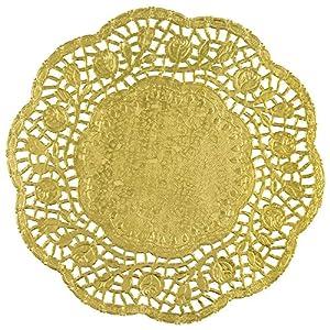 Unique Party 62895Lámina de 21cm oro papel blondas, juego de 4
