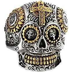 Beydodo Bagues Acier Chirurgical Homme Bague Argent Chevaliere Bague Skull Punk Rock Bicolore Taille 54