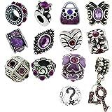 Best Queenberry Charms Pandora Charm Bracelets style - Timeline Treasures Lot de pendentifs avec strass pour Review