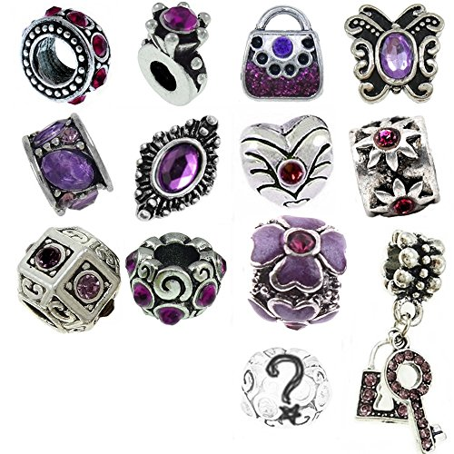 Lila-Farbtöne Monatsstein Beads und Charms kompatibel mit Pandora Armbändern (Kostüm Pandora Armbänder)