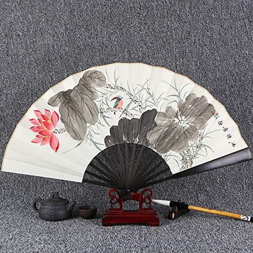 XIAOHAIZI HandfächerFächerFoldingFans Weinlese-Chinesischer Art-Handgemalte Kalligraphie-Faltfächer, Anlage Lotus, Faltender Fächer-Ventilator Der - Anlage Mann Kostüm