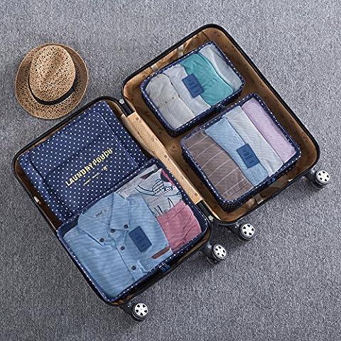 Sei suit valigia viaggio borsa di storage di smistamento abiti abiti da viaggio intimo sacchetto custodia impermeabile,Navy