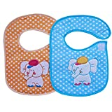 Littly Premium Velcro Bibs Combo, Pack of 2(Blue, Orange)