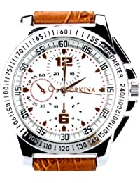 ORKINA W102-White - Reloj , correa de cuero color marrón