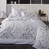 Juego de cama, 280 x 240 cm, percal de algodón, diseño de plumas