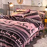 Bettbezug Plüsch Duvet Cover Set,Winter thickend Coral Fleece vierteilige Anzug Fleece Flanell Print H 220x240cm(87x94inch)