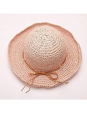LVLIDAN Sombrero para el sol del verano Lady Anti-Sol Playa pescador sombrero de paja rosa