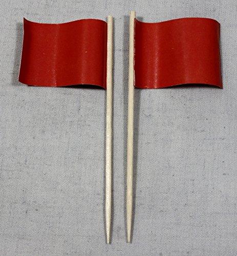 Party-Picker Flagge Uni Rot Papierfähnchen in Profiqualität 50 Stück Beutel zum selber beschriften