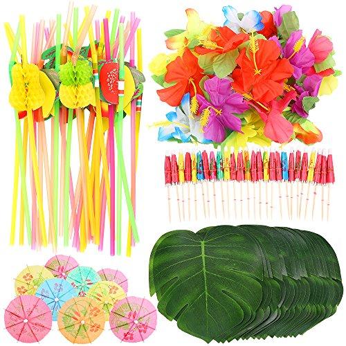 Auihiay 108 Stück tropische Party-Dekoration, Zubehör mit Palmenblättern, Hawaiiblüten, Regenschirmen und bunte 3D-Frucht-Strohhalme für Hawaii-Party, Dschungelstrand, Tischdekorationen (Partys Hawaii-dekorationen Für)