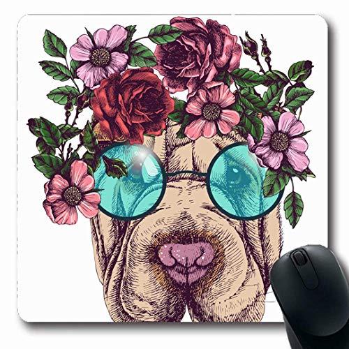 Luancrop Mousepads Blumen Hippie Sharpei Rosen Kranz Runde Sonnenbrille Kopf Hund Boho Gesicht Brille Haustiere Design rutschfeste Gaming Mouse Pad Gummi längliche Matte