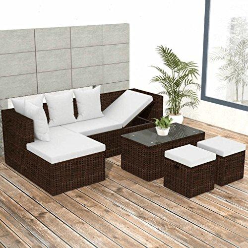 Lingjiushopping set divani da giardino 12 pz in polirattan modulare marrone materiale: pe rattan + struttura in acciaio verniciato a polvere + tavolo in vetro temperato set di mobili da esterno