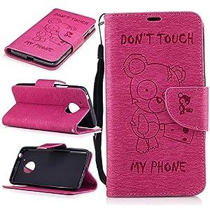 Cozy Hut Wallet Case Kunstlederhülle für Motorola Moto G5 - Cover Flip Tasche in Don't touch my Phone Design mit Kartenfach und Ständerfunktion Brieftasche und Kartenfächer in Niedlich Bär