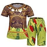 AmzBarley Pijamas Maui para Ni?os Moana Maui Pijama PJS Set Pijama para Ni?os Pijama Tops y Pantalones 7-8 A?os