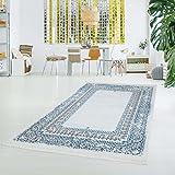 myshop24h Druck-Teppich Waschbar Klassisch Vintage Ornament Orientalisch Polyester Flachflor Blau Creme, Größe in cm:80x200cm