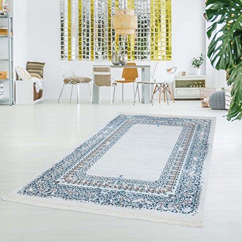 Traditionelle Ovale Teppich (myshop24h Druck-Teppich Waschbar Klassisch Vintage Ornament Orientalisch Polyester Flachflor Blau Creme, Größe in cm:80x200cm)
