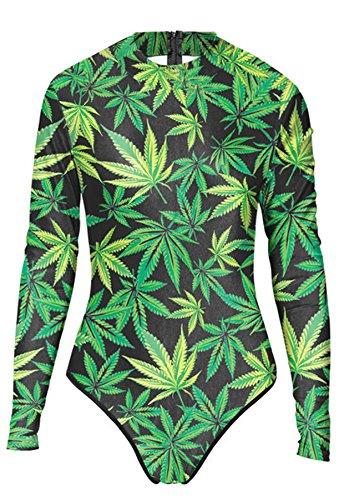 Thenice Damen Badeanzug Mehrfarbig schwarz onesize Green Leaves