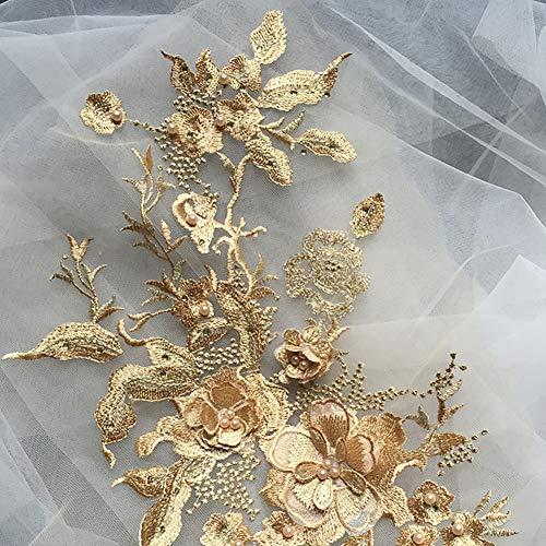 Yzki 3D-Stickerei mit Perlenapplikation, Blumen-Strass-Tüll, Tüll-Besatz, Stoff für DIY Ausschnitt, Hochzeit, Brautkleid, Kleidung, Stickerei Dekoration, goldgelb, Free Size (Diy Tüll Blumen)