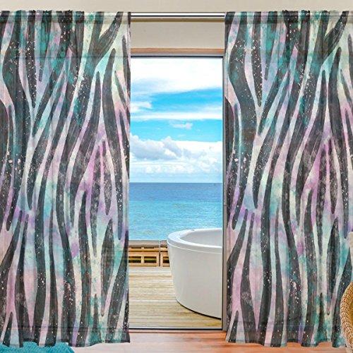 yibaihe Fenster Vorhänge, Gardinen Platten Fenster Behandlung Set Voile Drapes Tüll Vorhänge Animal Print 140W x 213 L cm 2Einsätze für Wohnzimmer Schlafzimmer Girl 's Room