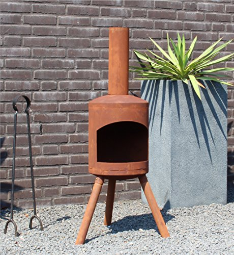 Chiminea Authentic Small Rusty Look - 115cm x 30cm - rust brown