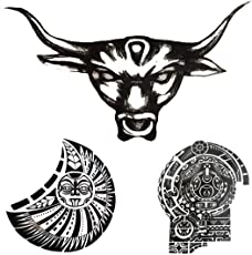 Voberry 3Pcs Arms Shoulder Chest Turtle Shell Totem Apollo Bull Tau Kok Waterproof Tattoo Stickers Big Disposable Tatoo Stickers