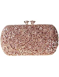 Damen Clutch Abendtasche Handtasche Geldbörse Glitzertasche Strass Kristall Schöne Schmetterling Tasche mit wechselbare Trageketten von Santimon Grün Santimon
