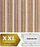 Streifen Vliestapete EDEM 938-33 XXL Vintage Tapete Barock Präge Snake-Textur olivbraun hell-braun beige 10,65 qm