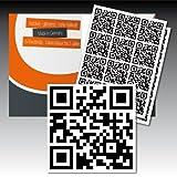 34 bedruckte, selbstklebende QR-Code-Etiketten mit Ihrer Rufnummer - weiß, schwarze Graphen - 35 mm x 35 mm - in Industriequalität - von Luminess - Made in Germany