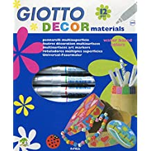 Giotto Decor Materials - Estuche 12 rotuladores decorativos multisuperficie, tinta base agua