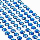 Movoja Dunkelblaue Strasssteine - runde Glitzersteine 147 Stück 10 mm selbstklebend zum Verzieren und Basteln | Schmucksteine zum aufkleben | Steinchen Dekosteine Bastelsteine Dunkelblau Blau