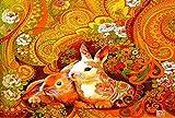 zzcpt DIY Puzzle 1000 Pezzi Coniglio, dodici Zodiaco Puzzle Carta Bianca Giocattoli educativi per Bambini adulti-1500pcs