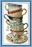 Yeesam Art® - Kreuzstich-Set für Fortgeschrittene: feine Kaffeetasse 14Count, 28×42cm, weiße Leinwand, Handarbeit, ideal als Weihnachtsgeschenk
