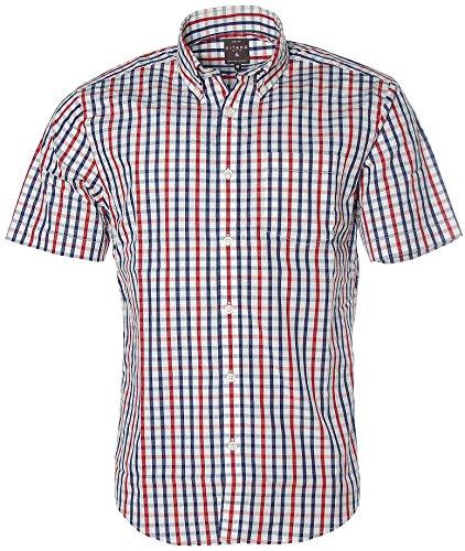 Kitaro Herren Kurzarm Shirt Hemd Freizeithemd Button-Down Karo Navy