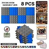 Acepunch 4 pièces Gris et 4 pièces Bleu Pyramide Tuile insonorisée de Mur de Traitement d'isolation Acoustique de Panneau de Mousse Acoustique de Studio 25 x 25 x 5 cm AP1034