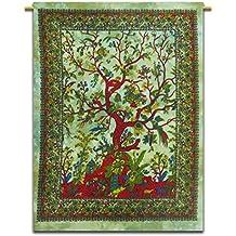 Árbol de la pared de vida colgado de la India de la tapicería de algodón impresiones