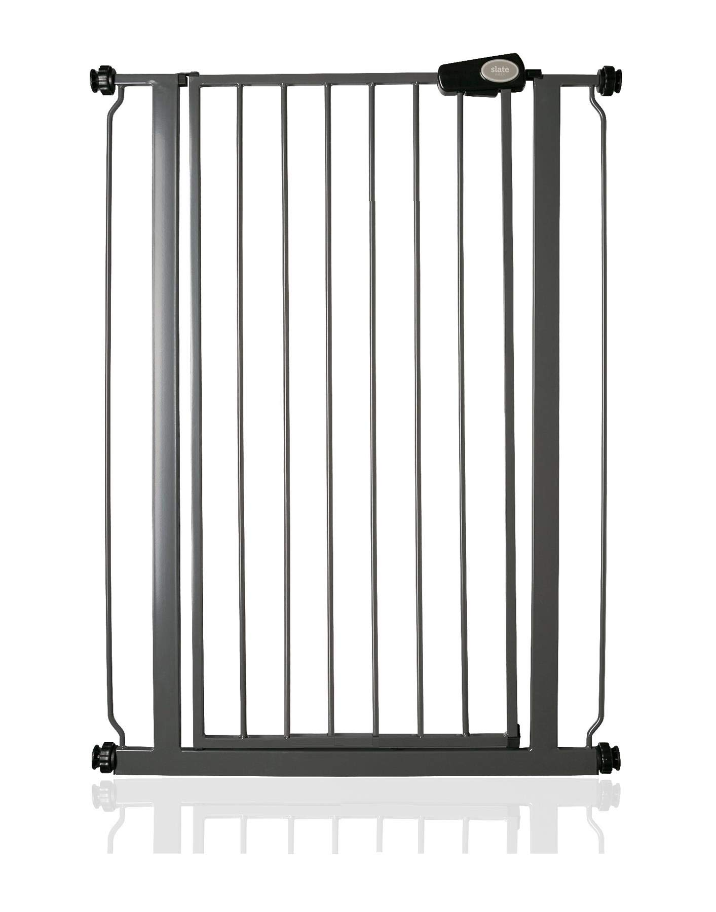 Bettacare Child and Pet Gate Slate Grey Standard 75cm - 82.6cm Bettacare Fits openings from 75cm to 83cm, height of gate 104cm Pressure fitted gate with slate grey finish One-handed operation 2