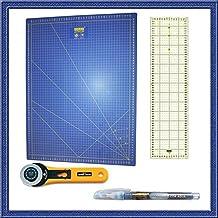 Kit de Patchwork de alta calidad con Base de corte Azul de 60x45, Cutter Olfa de 45 mm cuchilla incluida,Regla especial para Patchwork de 15x60 y marcador azul para tejidos que desaparece con el agua