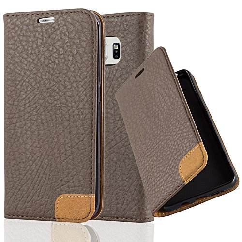 Preisvergleich Produktbild Cadorabo Hülle für Samsung Galaxy S6 Edge - Hülle in ERD BRAUN – Handyhülle mit Standfunktion,  Kartenfach und Textil-Patch - Case Cover Schutzhülle Etui Tasche Book Klapp Style