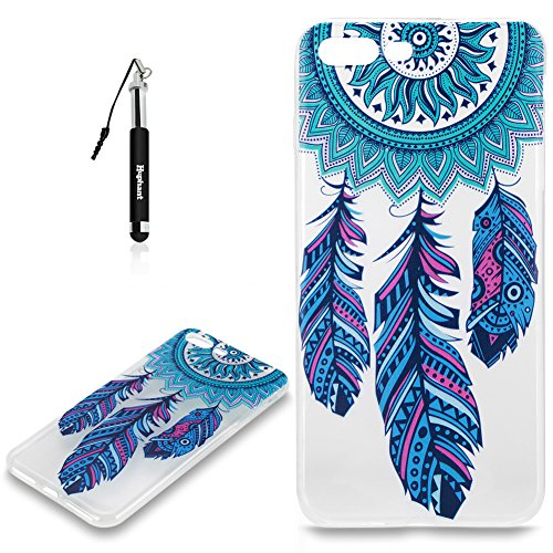 Coque iPhone 7 Plus Case Silicone Rose,Huphant Etui pour telephone avec TPU Silicone Cas iPhone 7 Plus Housse Crystal with Coque couleurs for iPhone 7 Plus Etui silicone TPU Flamant Fleurs Datura Fill Bleu Plumes Fleur