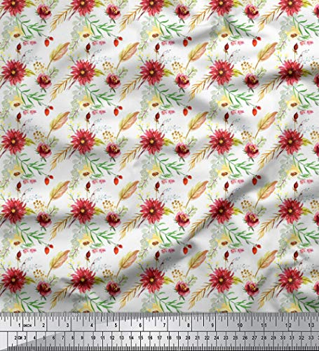 Soimoi Blanc Mousse Georgette en Tissu Feuilles et Dahlia Floral Tissu Imprime par Metre 42 Pouce Large