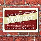 Schild Retro Vintage Geburtstag Geschenk Oldtimer 80 80er achtzig Alu-Verbund 300 x 200 mm