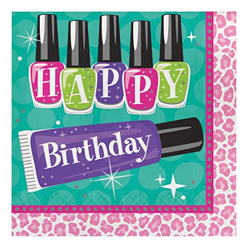 Creative Converting 31727416Count Papier Lunch-Servietten, Happy Birthday, Sparkle Spa Party. (Spa Party Supplies)