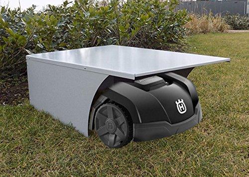 BBT@ Metall-Garage für Rasenmähroboter Schwarz Pulverbeschichtet / + Montage-Material / Tiefe: 90 cm - Breite: 65 cm - Höhe: 34 cm / Bester Schutz für Ihren Roboter vor Wind Wetter UV-Strahlung -