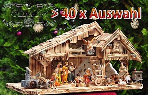 Krippenstall Weihnachtskrippe + Zubehör, NEU MIT BRUNNEN + Holzdeko + Tierfiguren + Stall KS70na-MF-SKR mit hochwertigen PREMIUM Krippenfiguren