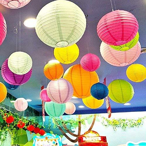 (16 PCS bunten Papier Laternen (Multicolor, Größe der 10,2 cm 15,2 cm 20,3 cm 25,4 cm) - Japanisches/Chinesisches Papier, Kugel, zum Aufhängen Dekorationen Laternen Lampen für Home Decor)