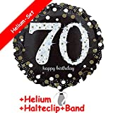 Carpeta Folienballon * Zahl 70 Happy Birthday + Helium FÜLLUNG + Halte Clip + Band * zum 70. Geburtstag // Folien Ballon Party Helium Deko Ballongas Motto siebzig Jahre Glückwunsch