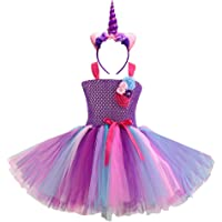 DIXIUZA Girls Unicorn Flower Princess Dress Costume Cosplay Birthday Party Dresses Up