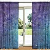 ALAZA Bunte Galaxy Stern und Nebel Universum Printed Sheer Fenster und Tür-Vorhang 2 Panels 55